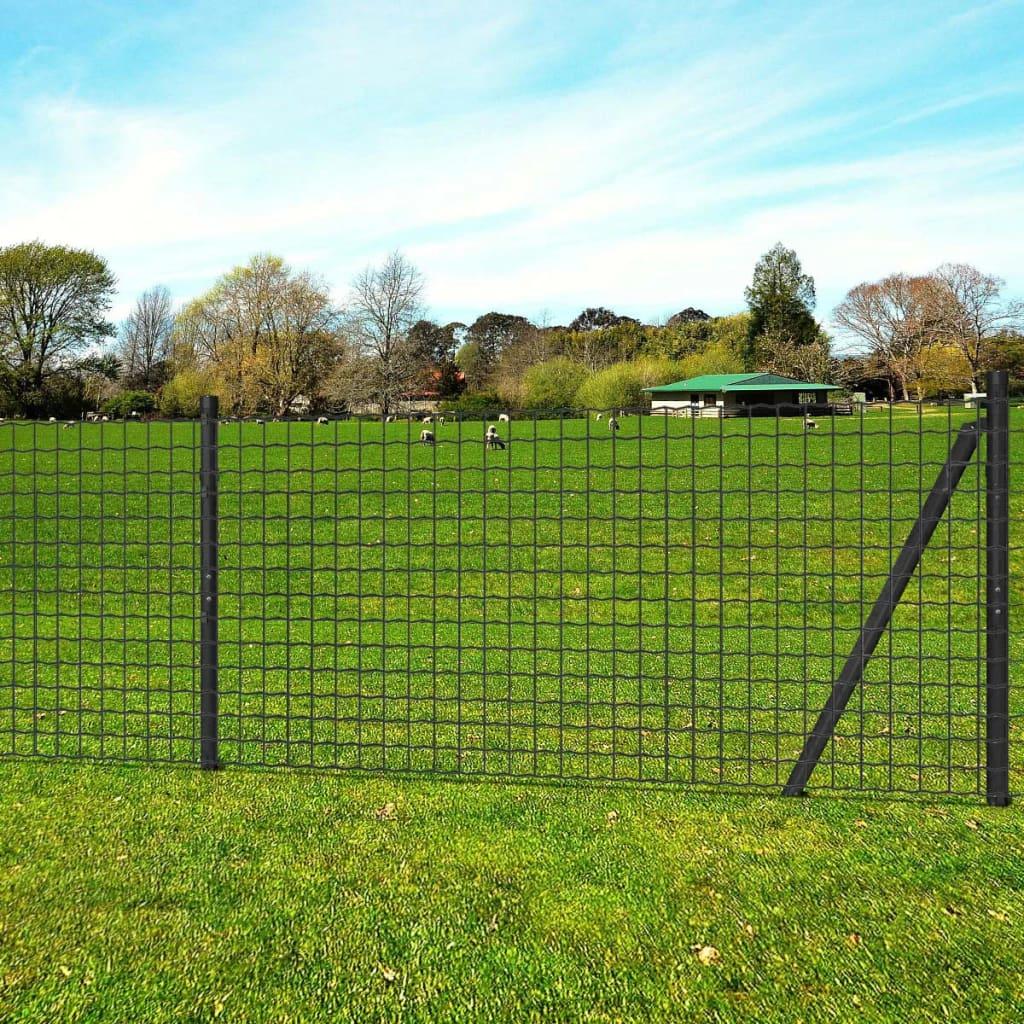 vidaXL Euro Fence szürke acélkerítés szett cövekekkel 25 x 1 m