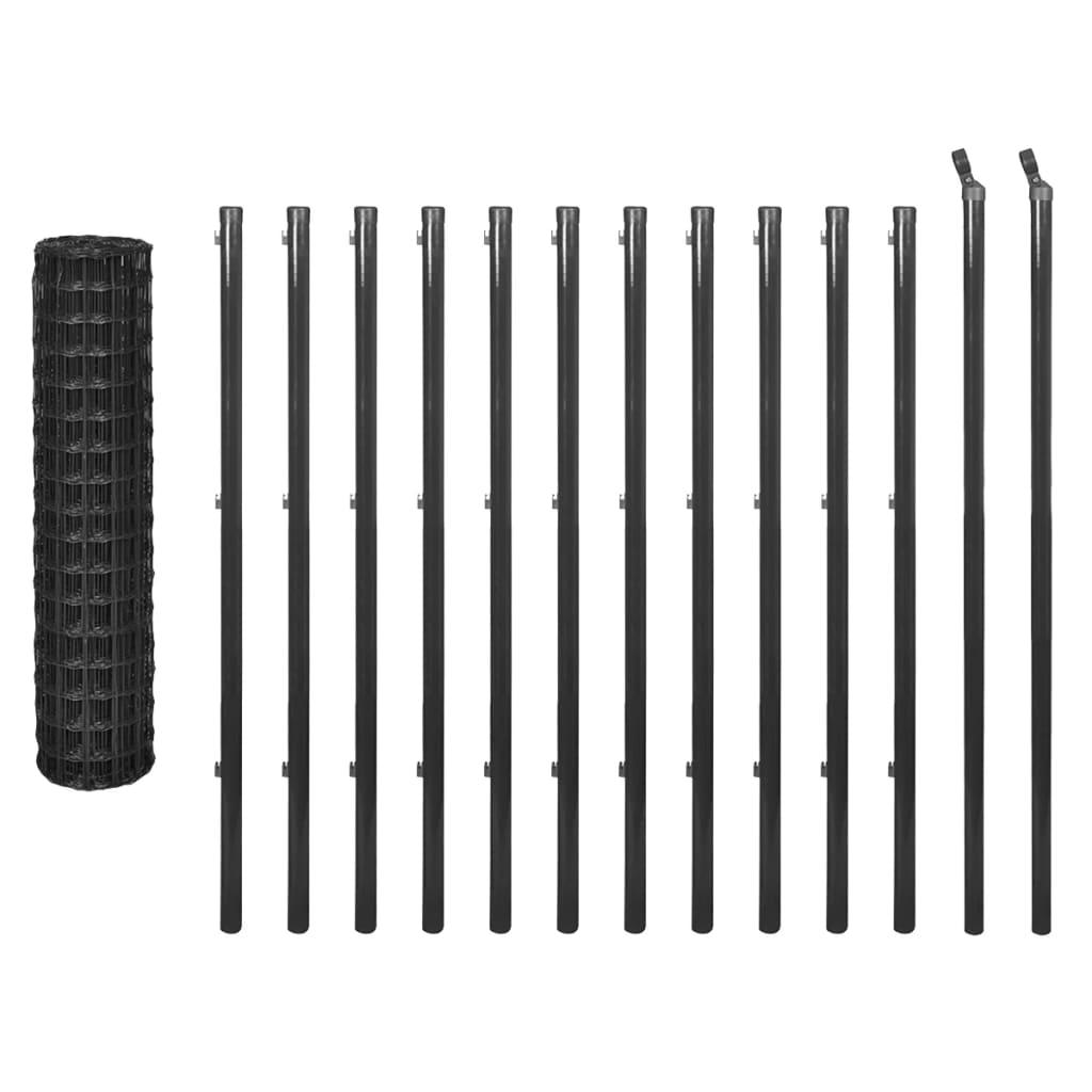 vidaXL Euro Fence szürke acélkerítés szett 25 x 1,2 m
