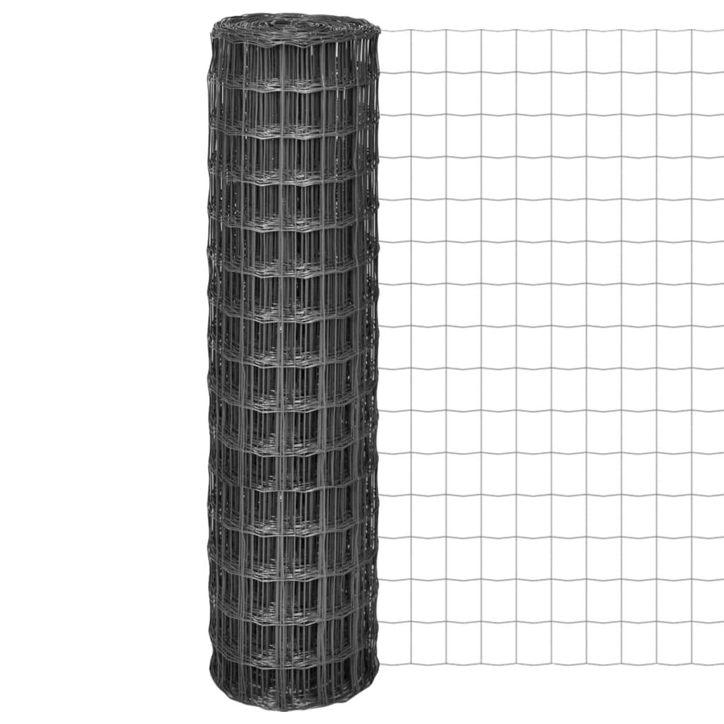 vidaXL Euro Fence kerítés 10 x 1,5 m, 100 mm-es szürke acélhálóval