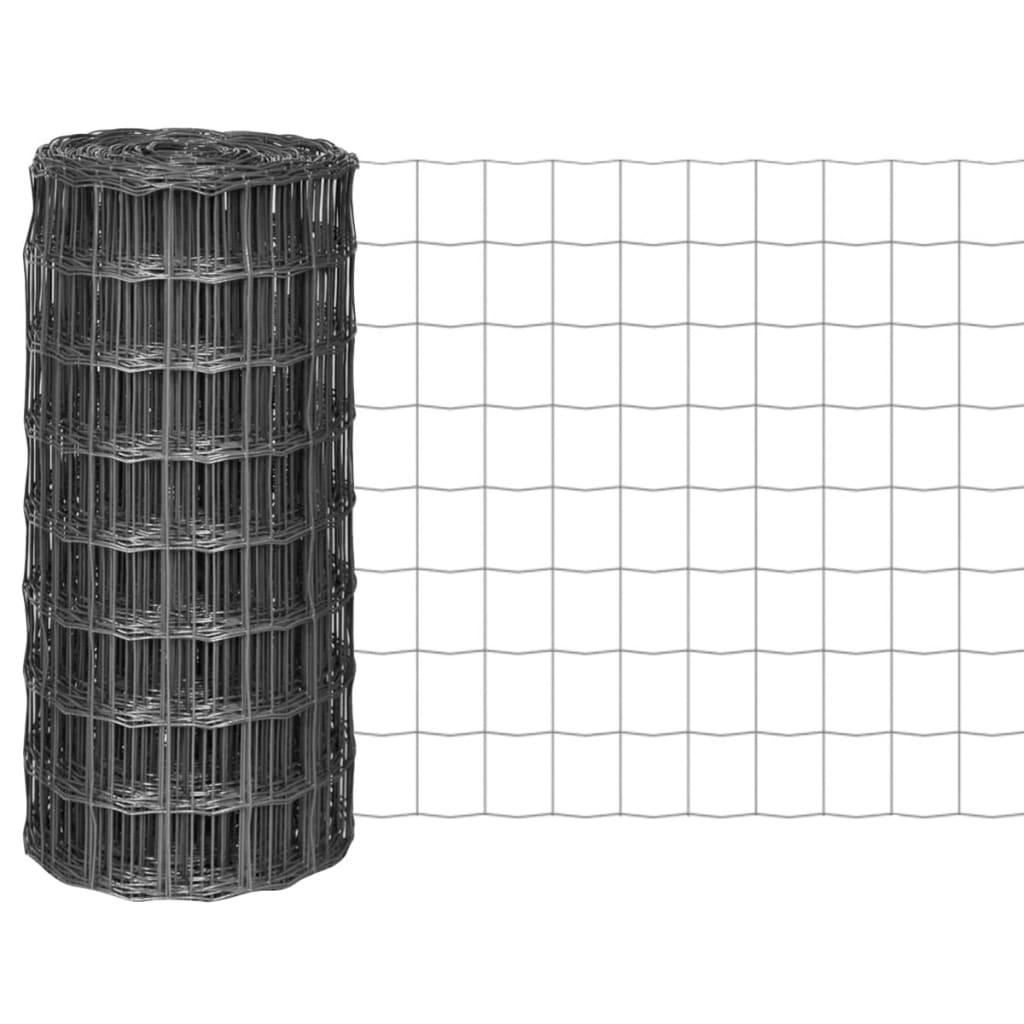 vidaXL Euro Fence kerítés 25 x 0,8 m, 100 mm szürke acélhálóval
