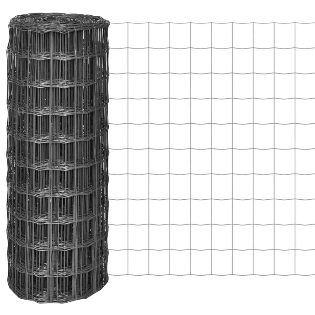 vidaXL Euro Fence kerítés 25 x 1 m, 100 mm szürke acélhálóval