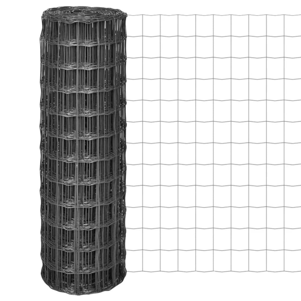 vidaXL Euro Fence kerítés 25 x 1,2 m,100 100 mm szürke acélhálóval