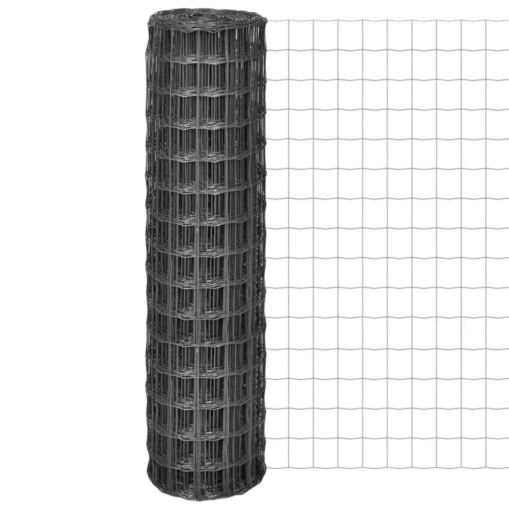 vidaXL Euro Fence kerítés 25 x 1,5 m, 100 mm-es szürke acélhálóval