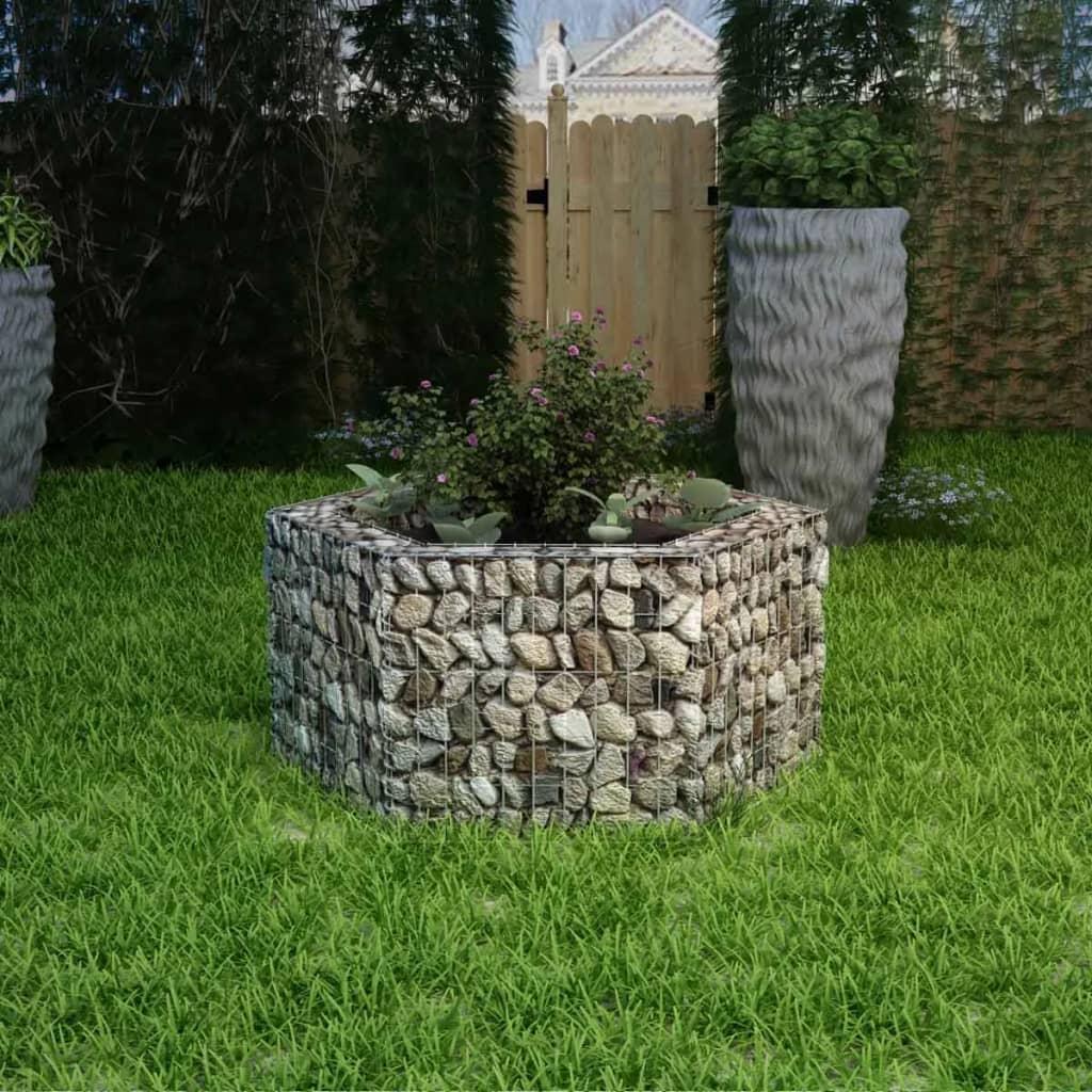 vidaXL hatszögletű gabion virágtartó 100 x 90 50 cm ezüst