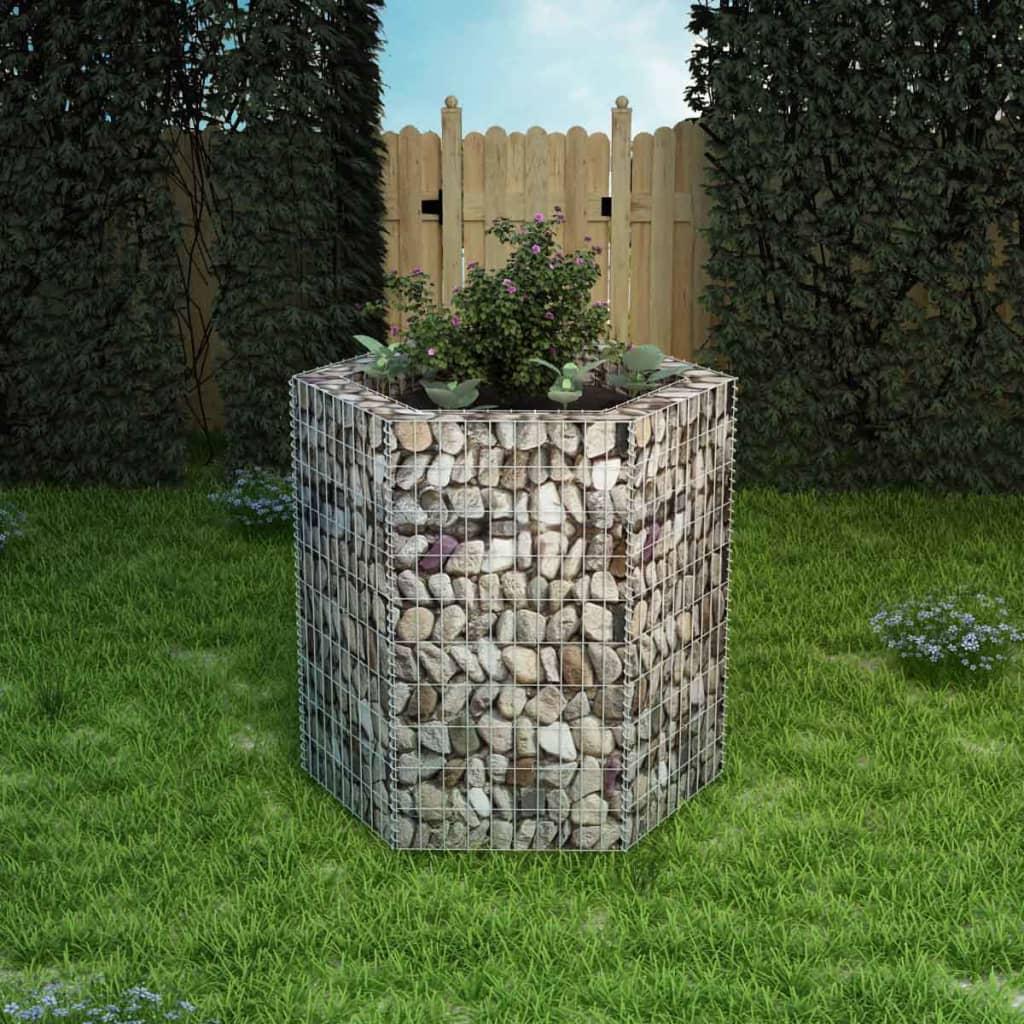 vidaXL hatszögletű gabion virágtartó 100 x 90 cm