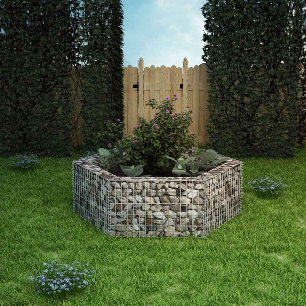 vidaXL hatszögletű gabion virágtartó 160 x 139 50 cm