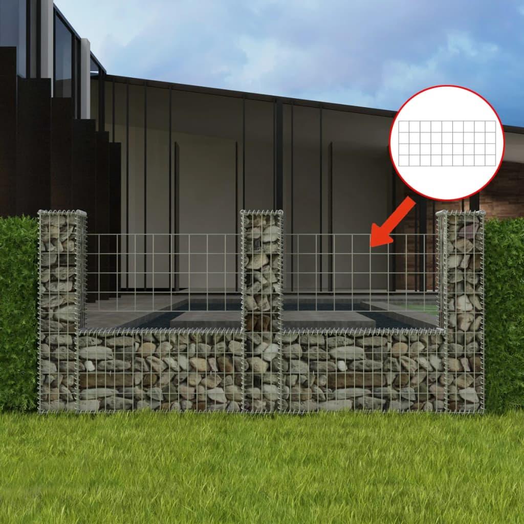 vidaXL U-alakú acél gabion / kőkosár 240 x 20 100 cm