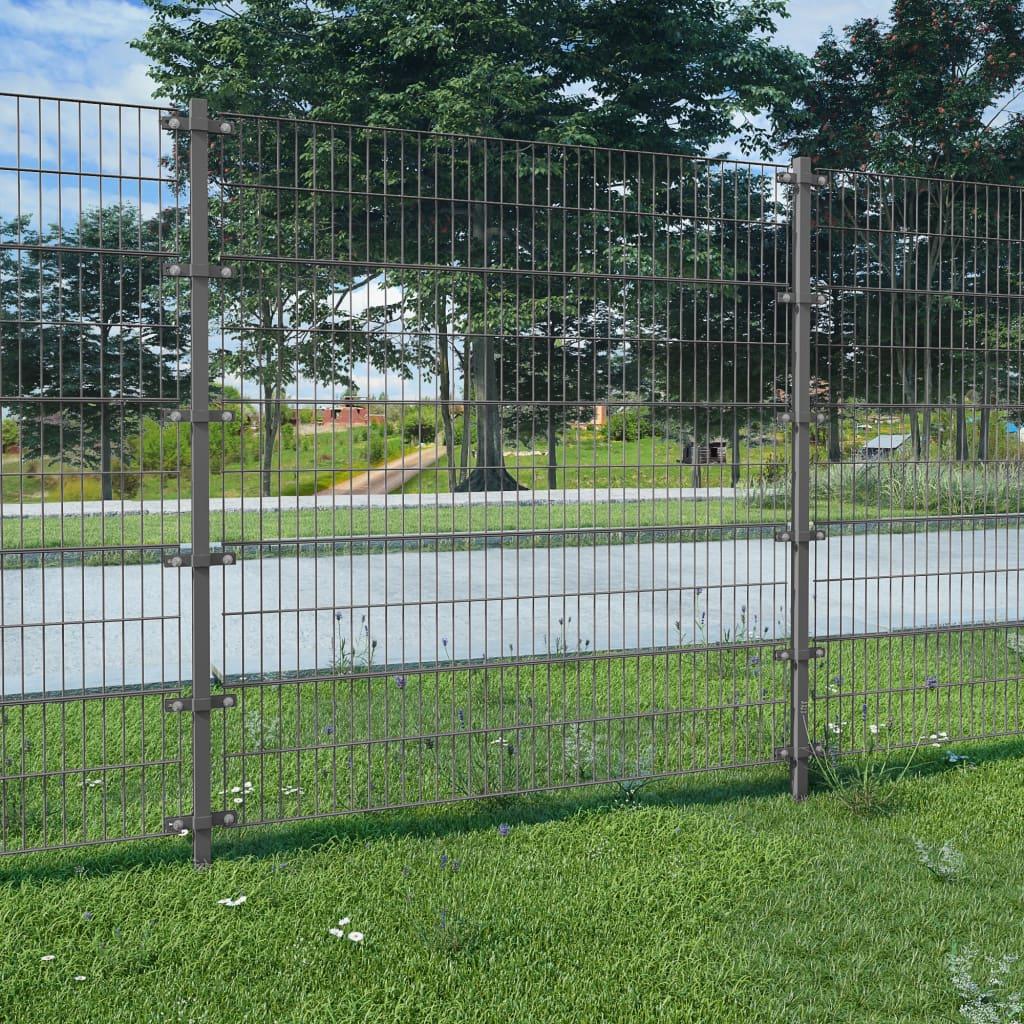 vidaXL antracitszürke kerítéspanel oszlopokkal 6 x 1,6 m