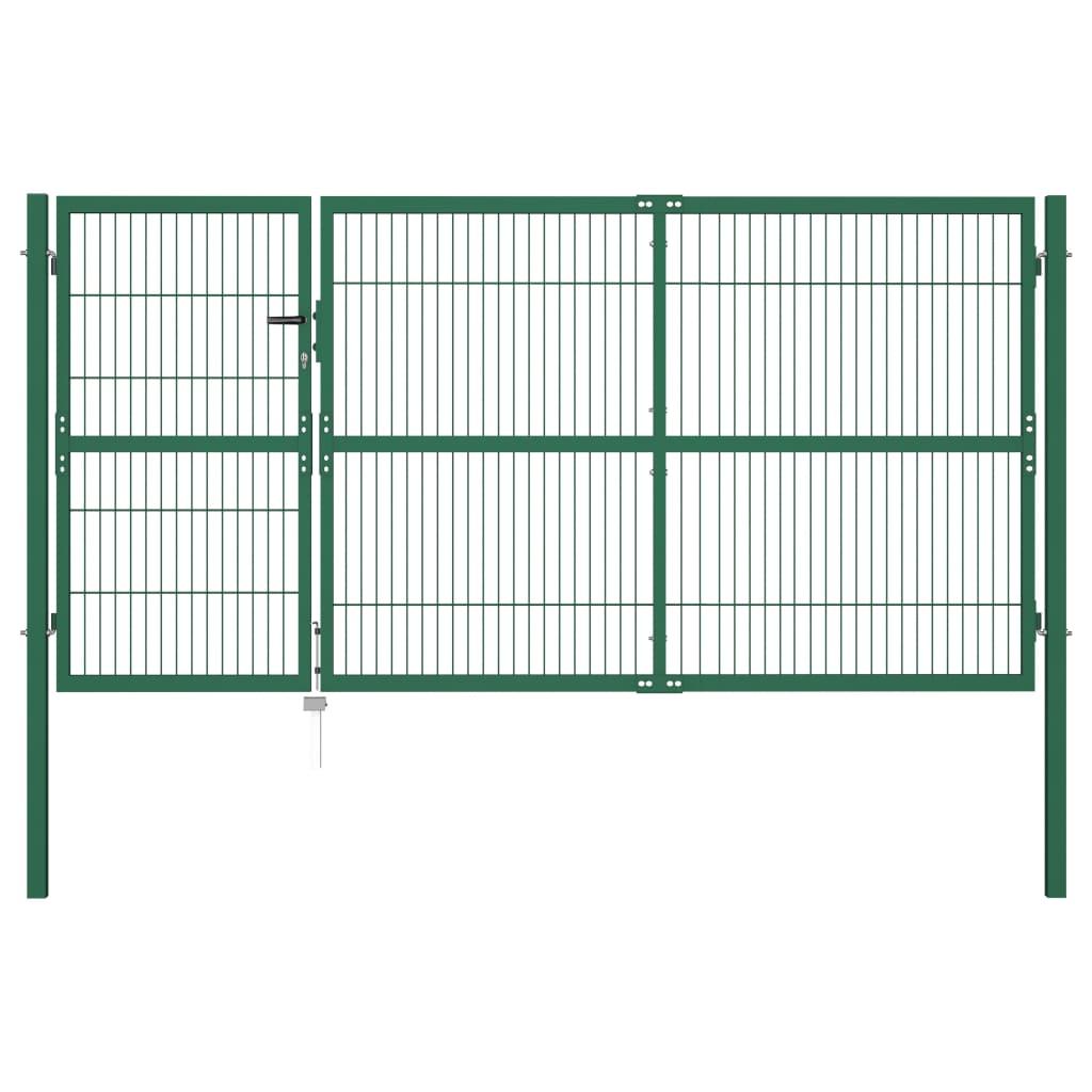 vidaXL zöld acél kerti kerítéskapu póznákkal 350 x 140 cm