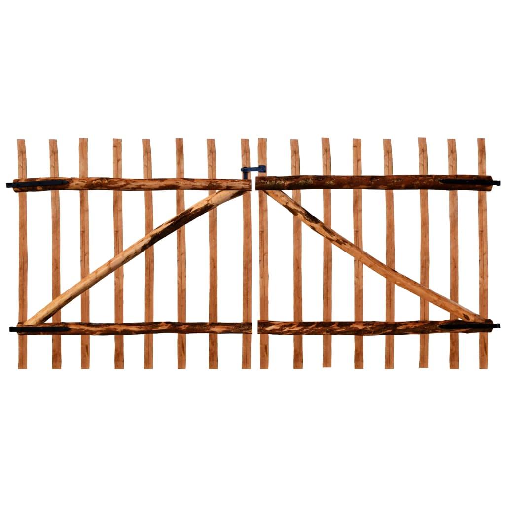 vidaXL impregnált, dupla mogyorófa deszka-kerítéskapu 300 x 150 cm