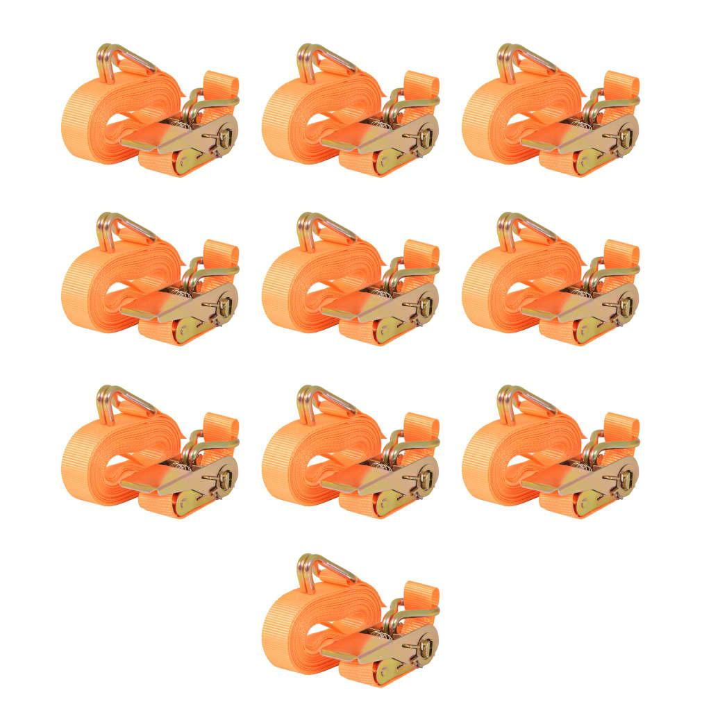 vidaXL 10 db narancssárga racsnis spanifer, 0,8 tonna 6 m x 25 mm