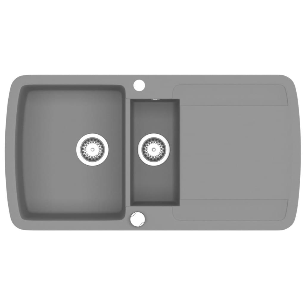 Afbeelding van vidaXL Gootsteen dubbele bak graniet grijs