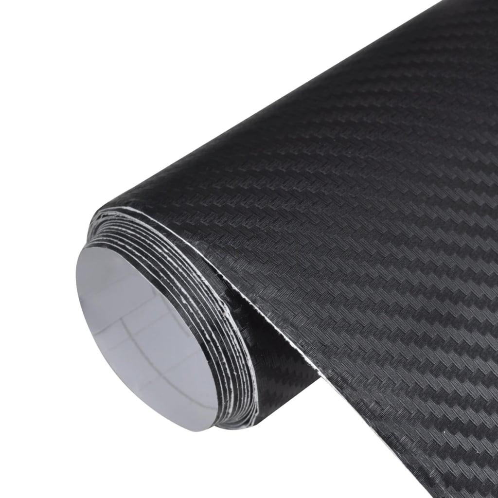 VidaXL Film Fibre de Carbone 3D Vinyl Noir 152 x 500 cm pour Voiture