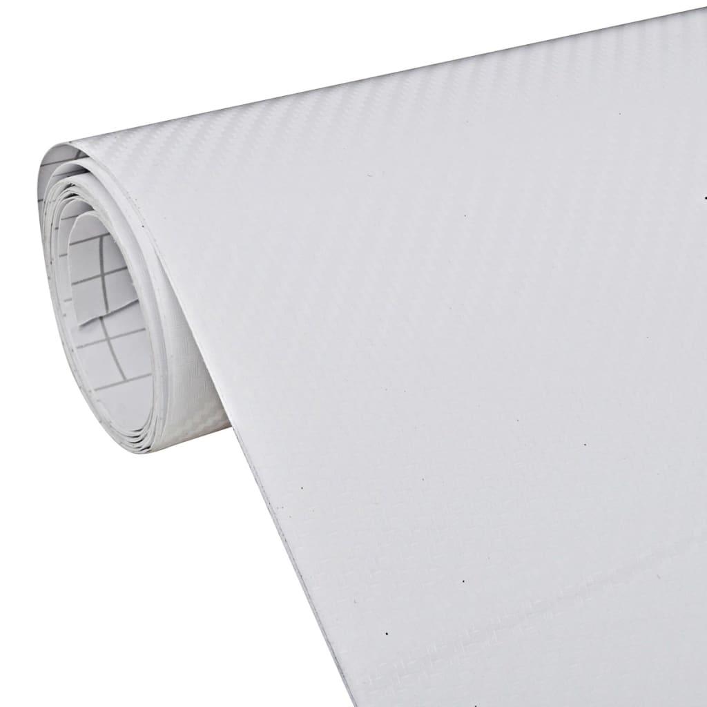 VidaXL Film Fibre de Carbone 3D Vinyl Blanc 152 x 200 cm pour Voiture