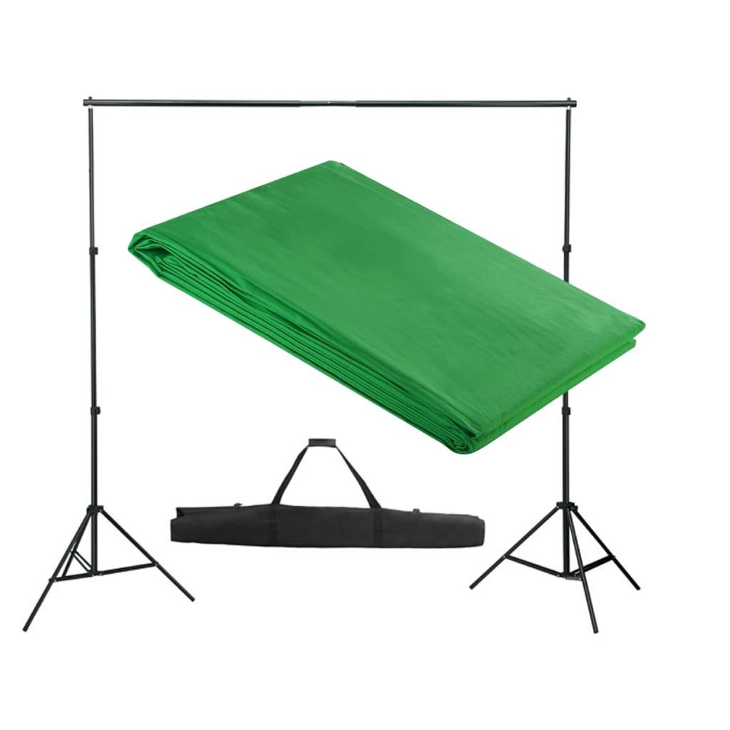 Afbeelding van vidaXL Achtergrondondersteuningssysteem 300x300 cm groen