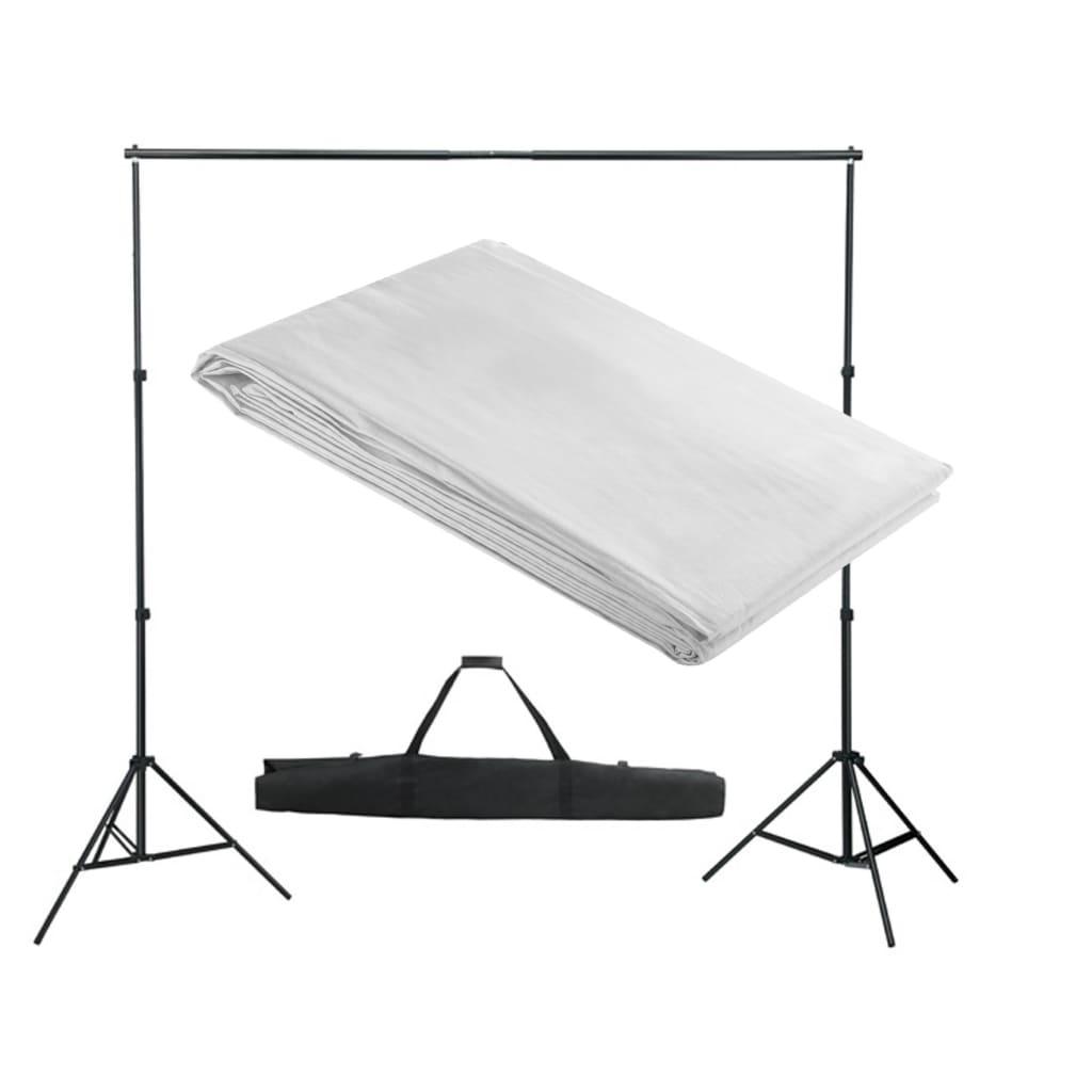 vidaXL Fehér Fotóháttér Támasz Szerkezet / Háttér 300 x cm