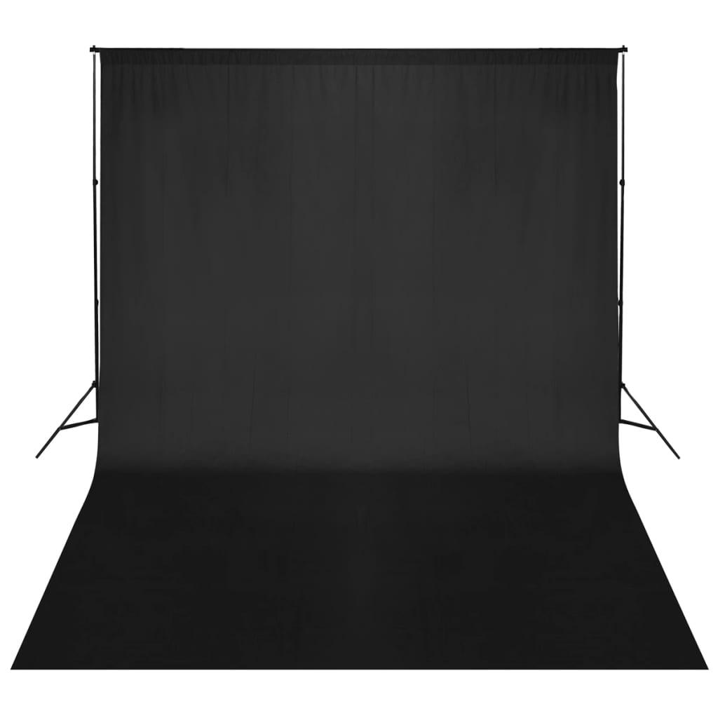 vidaXL Fekete Fotóháttér Támasz Szerkezet / Háttér 500 x 300 cm