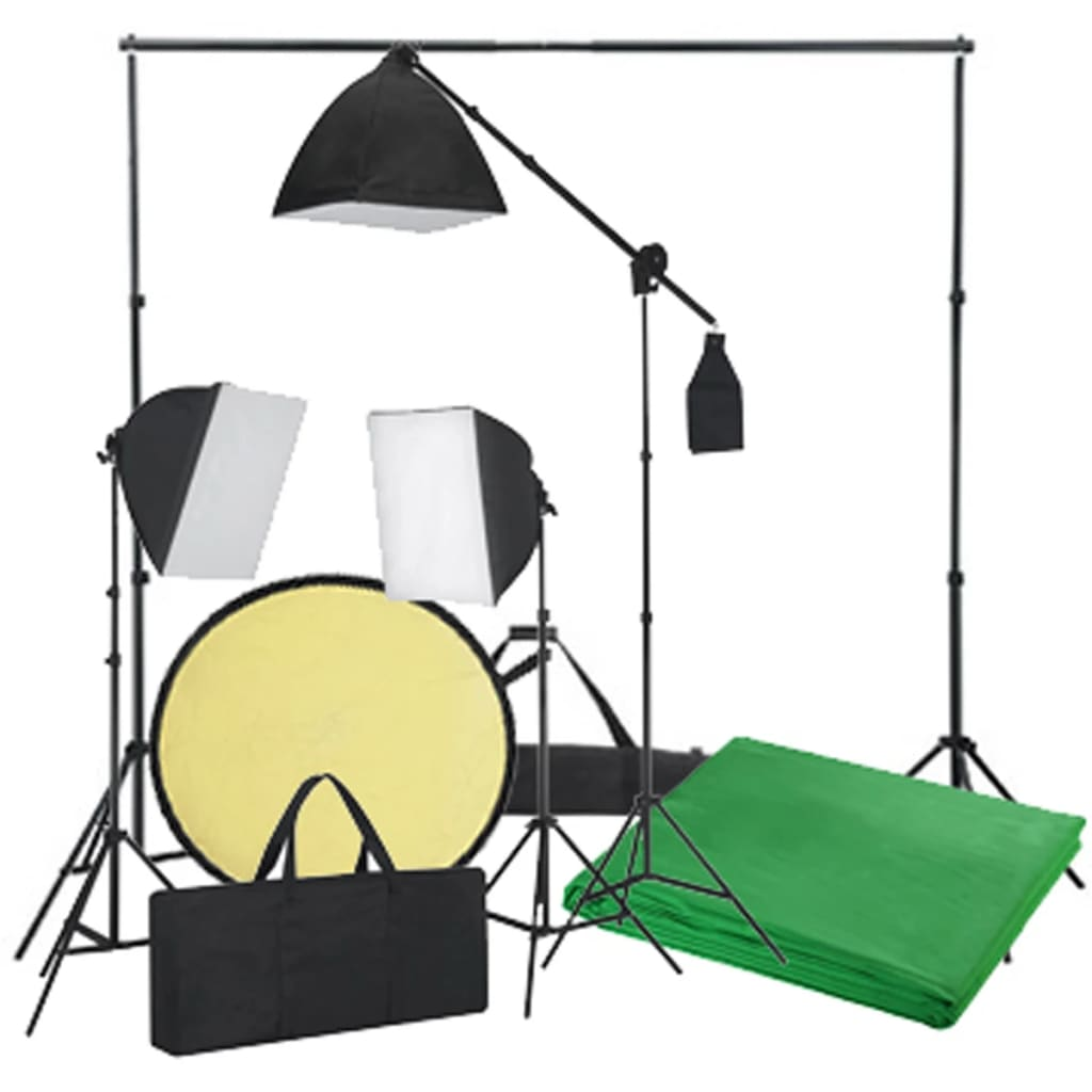 acheter kit photo 3 softbox fond vert et r flecteur pas cher. Black Bedroom Furniture Sets. Home Design Ideas