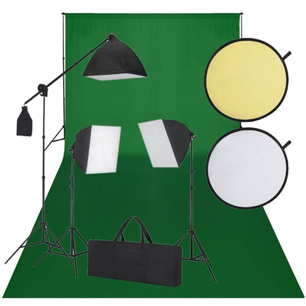 vidaXL Studio Sett - 600 x 300 cm et grønt bakteppe, 3 dagslyslamper og reflekterende skjermer.