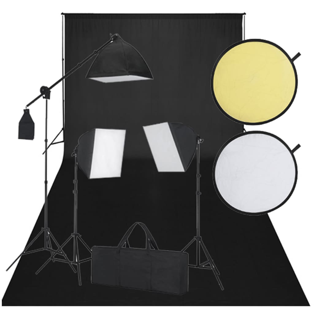 vidaXL Studio Sett - 600 x 300 cm et svart bakteppe, 3 dagslyslamper og reflekterende skjermer.