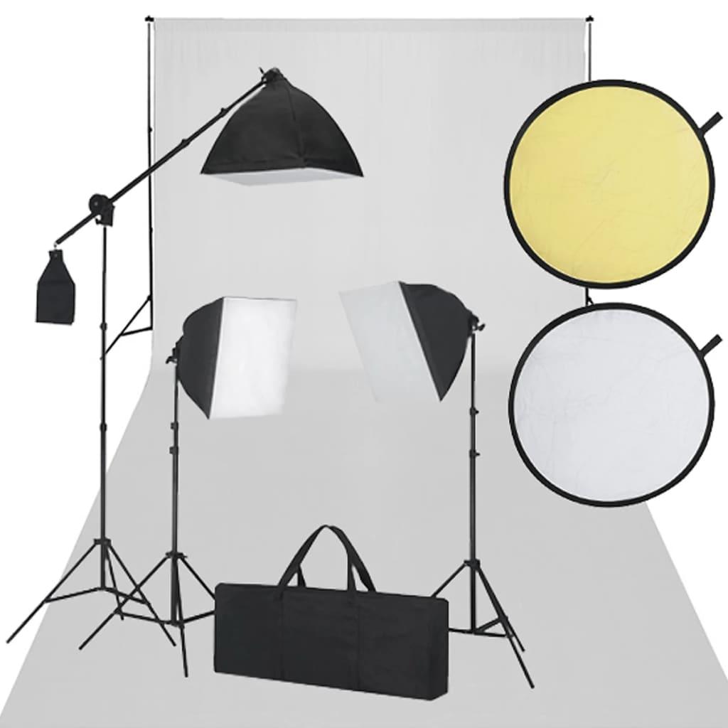 vidaXL Studio Sett - 600 x 300 cm et Hvit bakteppe, 3 dagslyslamper og reflekterende skjermer