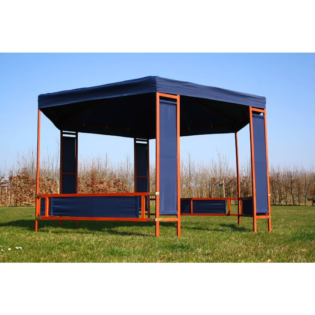 der garten pavillon holz mit blauem stoff 3 85 x 3 32 m online shop. Black Bedroom Furniture Sets. Home Design Ideas