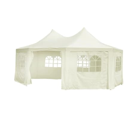 Tente pagode double chapiteau blanc cr me 6 x 4 4 x 3 5 m for Piscine 2x4m