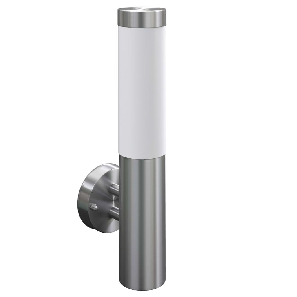 2 apliques de exterior l mparas de pared acero for Aplique para bano en acero inoxidable