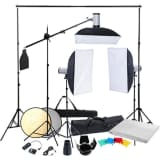 Fotostudio set met 3x studio flitser 3x softbox en 3x statief