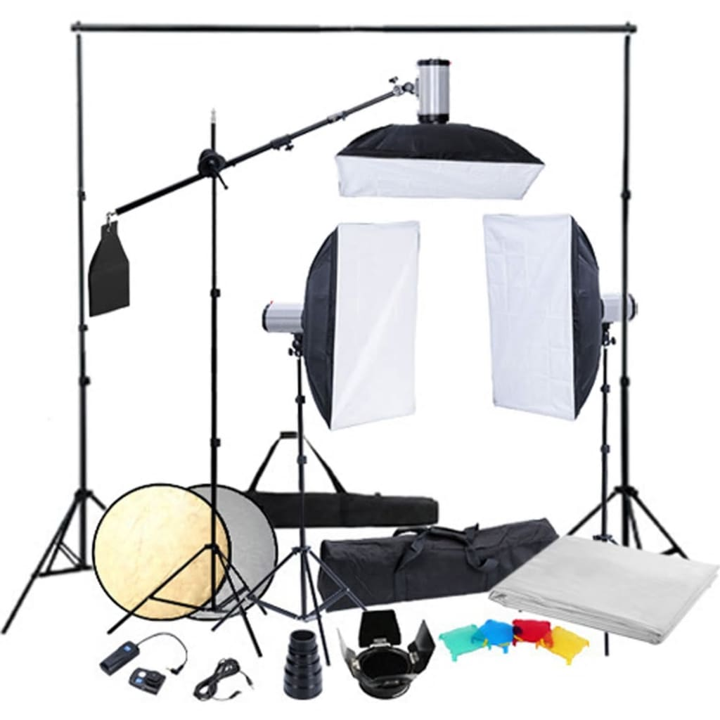 studio kit 3 flash heads tripods softboxes. Black Bedroom Furniture Sets. Home Design Ideas