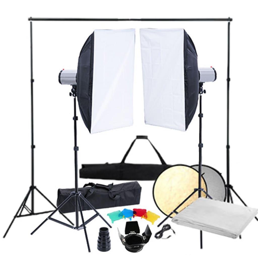 vidaXL Stúdió Felszerelés: 2 x Vakufej, Vakulágyító és Állvány
