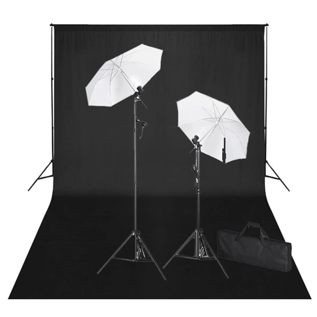 vidaXL Stúdió Felszerelés: FeketeHáttér 600x300 és Fények
