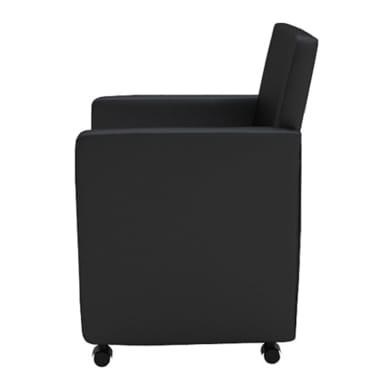 silla de comedor negra con apoyabrazos de cuero artificial