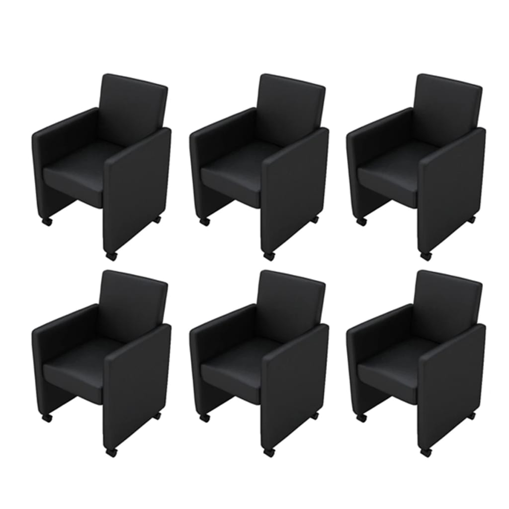 la boutique en ligne fauteuil roulettes noir lot de 6. Black Bedroom Furniture Sets. Home Design Ideas