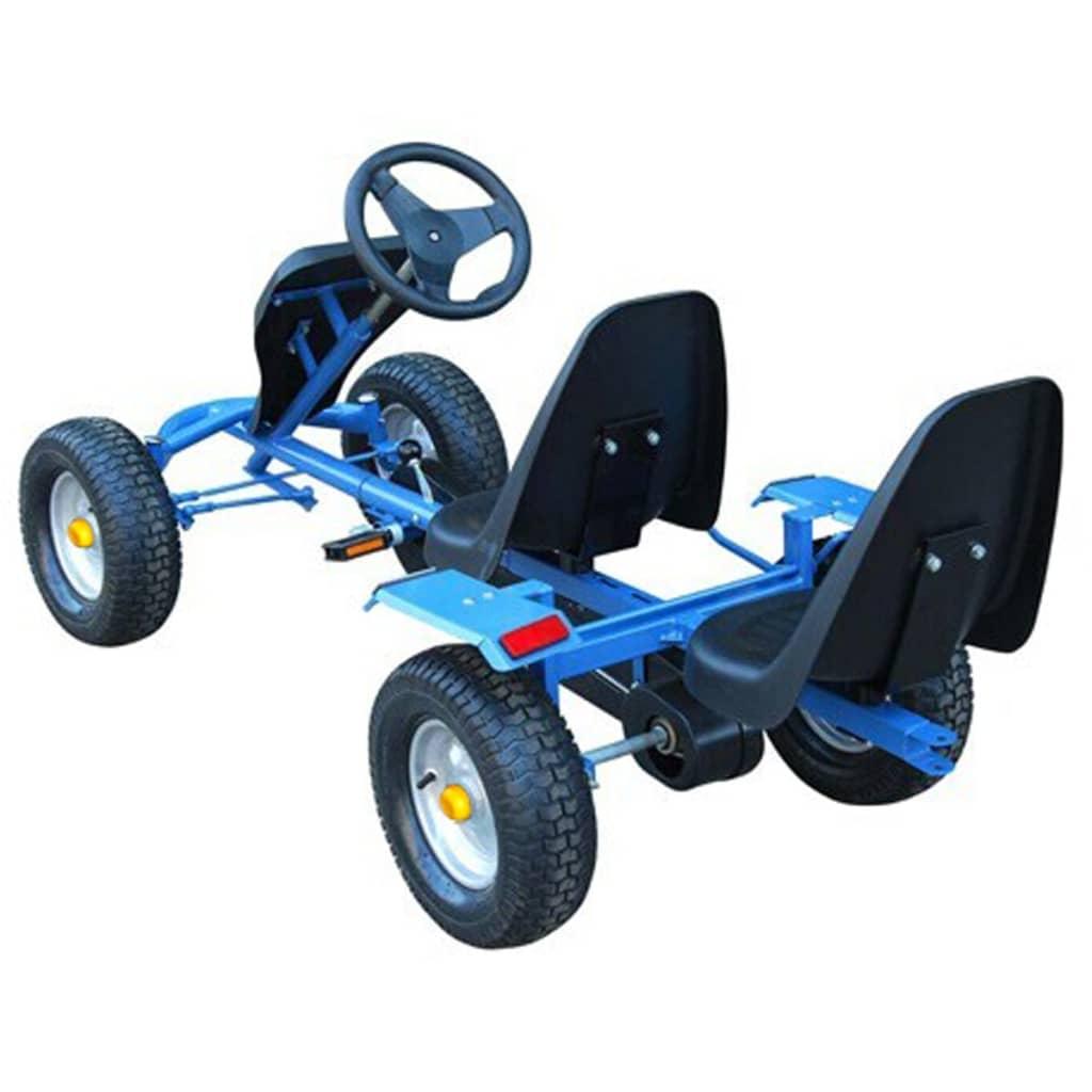 blue pedal go kart two seats trailer. Black Bedroom Furniture Sets. Home Design Ideas