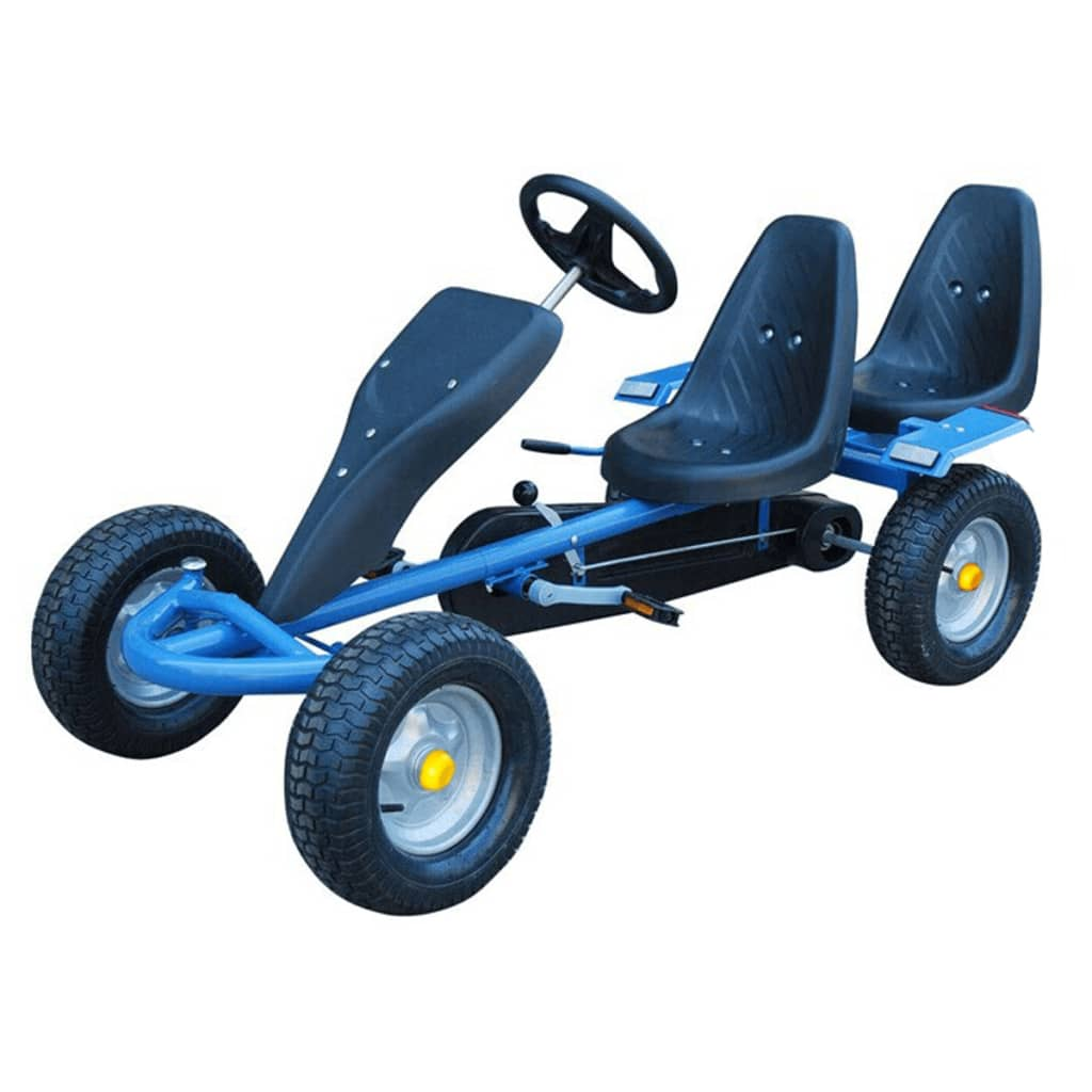blue pedal go kart two seats trailer. Black Bedroom Furniture Sets. Home Design Ideas