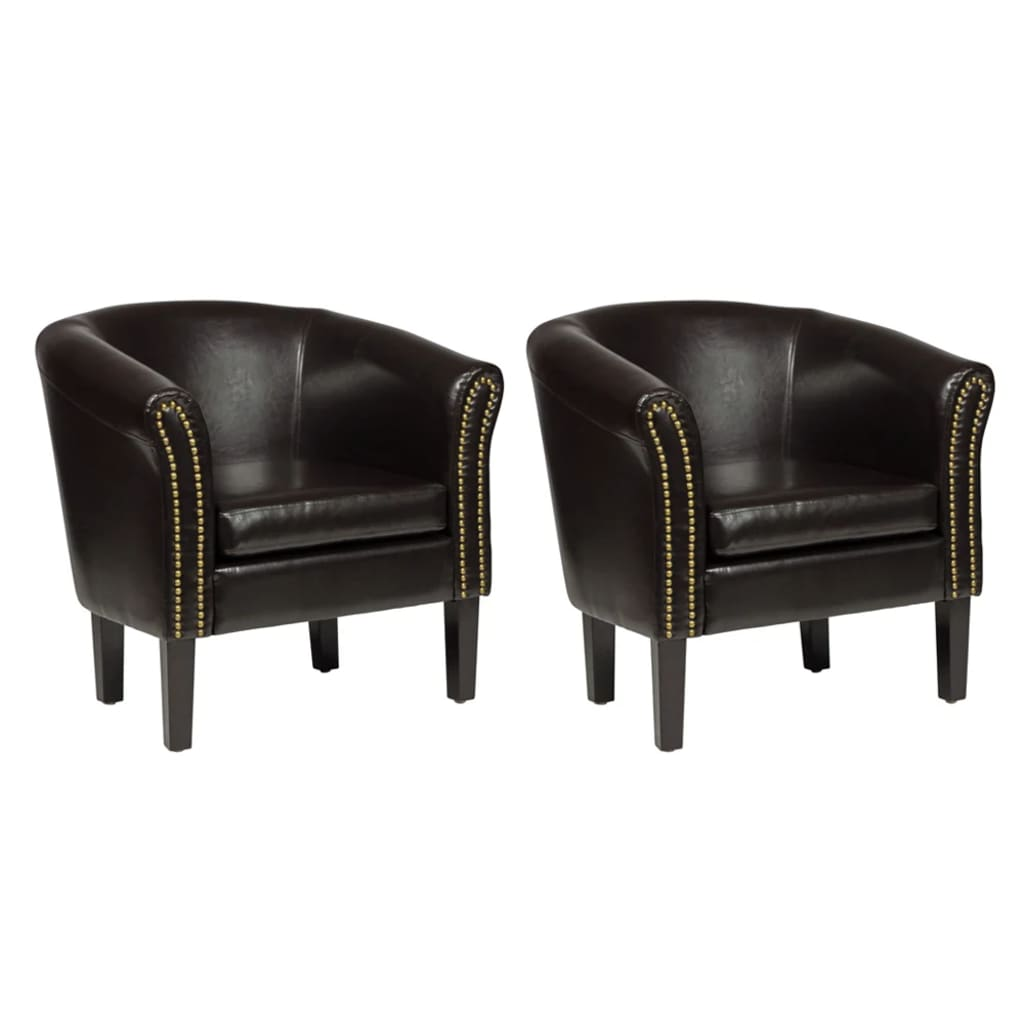 la boutique en ligne fauteuil chesterfield simili cuir marron lot de 2. Black Bedroom Furniture Sets. Home Design Ideas