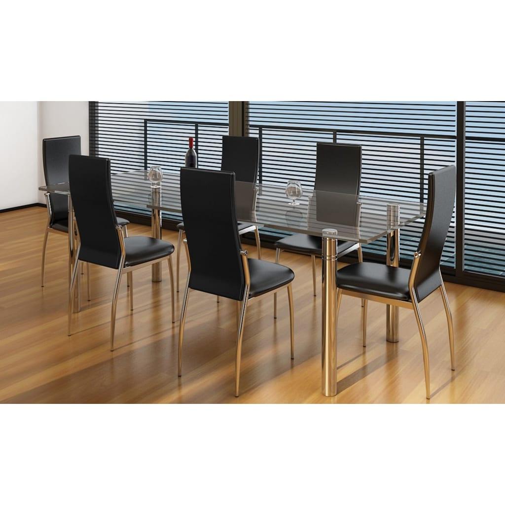 Vidaxl 6 pz sedie cromate per sala da pranzo pelle for Sedie per sala