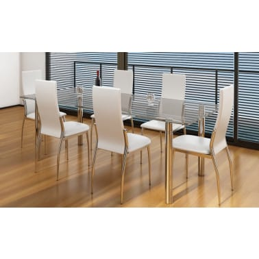 Vidaxl 6 pz sedie cromate per sala da pranzo pelle for Sedie in pelle bianca