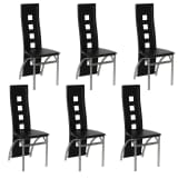 6 Dining Chairs Chrome Black Leather