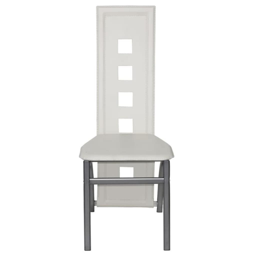 der esszimmer st hle 6er set wei stahl kunstleder. Black Bedroom Furniture Sets. Home Design Ideas