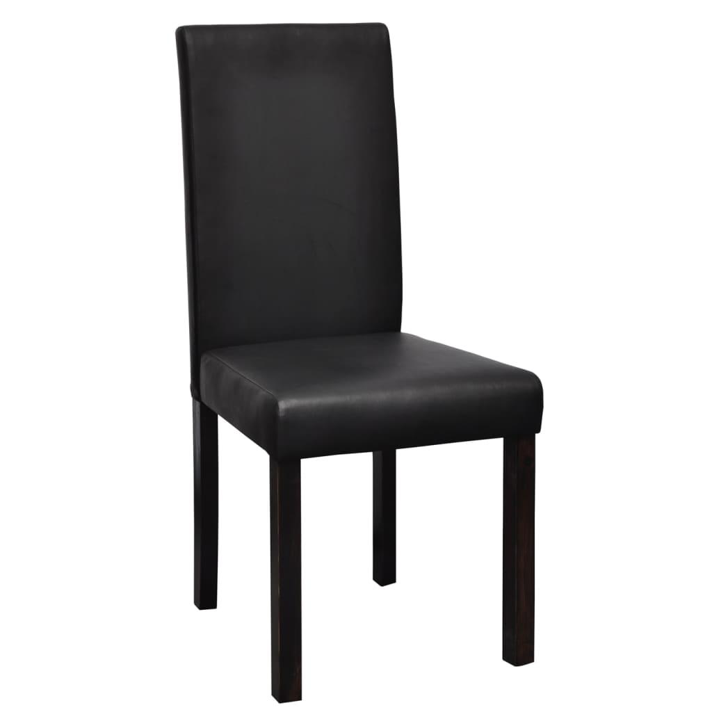 Vidaxl 6 sillas de comedor negras de cuero artificial for Sillas de comedor de cuero