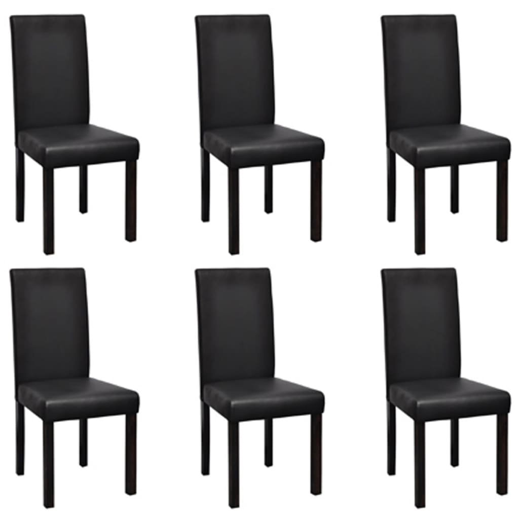 la boutique en ligne vidaxl chaises de salle manger 6 pcs noir similicuir. Black Bedroom Furniture Sets. Home Design Ideas