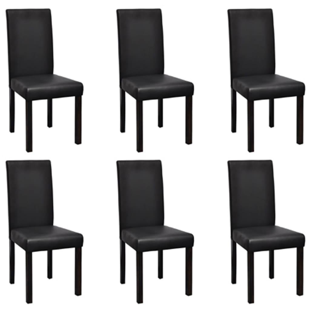 Vidaxl 6 sillas de comedor negras de cuero artificial for Sillas de cuero para comedor