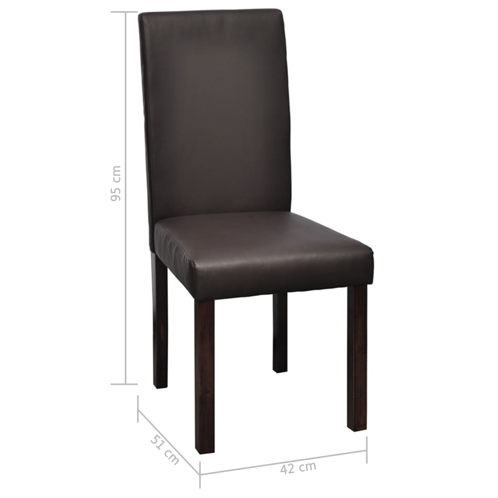 Vidaxl 6 sillas de comedor marr n de cuero artificial for Sillas comedor cuero marron