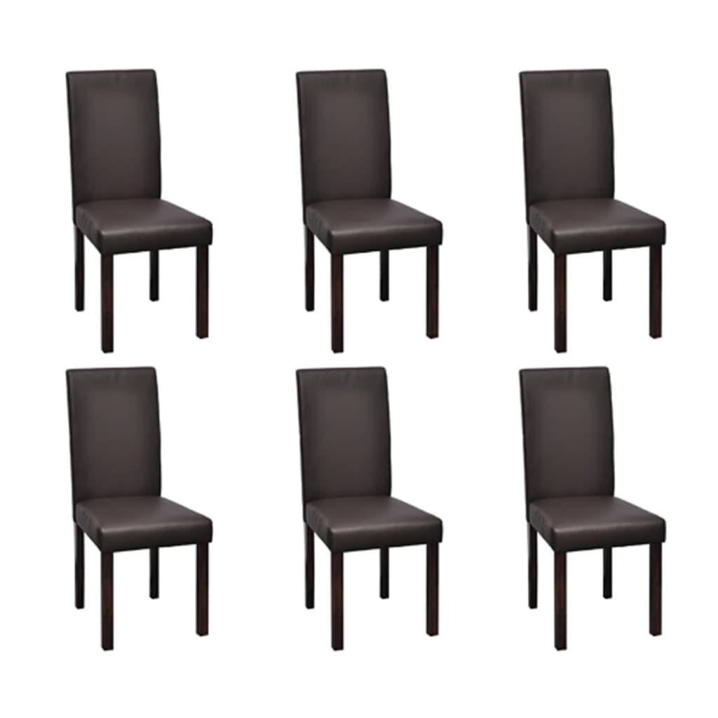 Vidaxl 6 sillas de comedor marr n de cuero artificial for Sillas de comedor de cuero