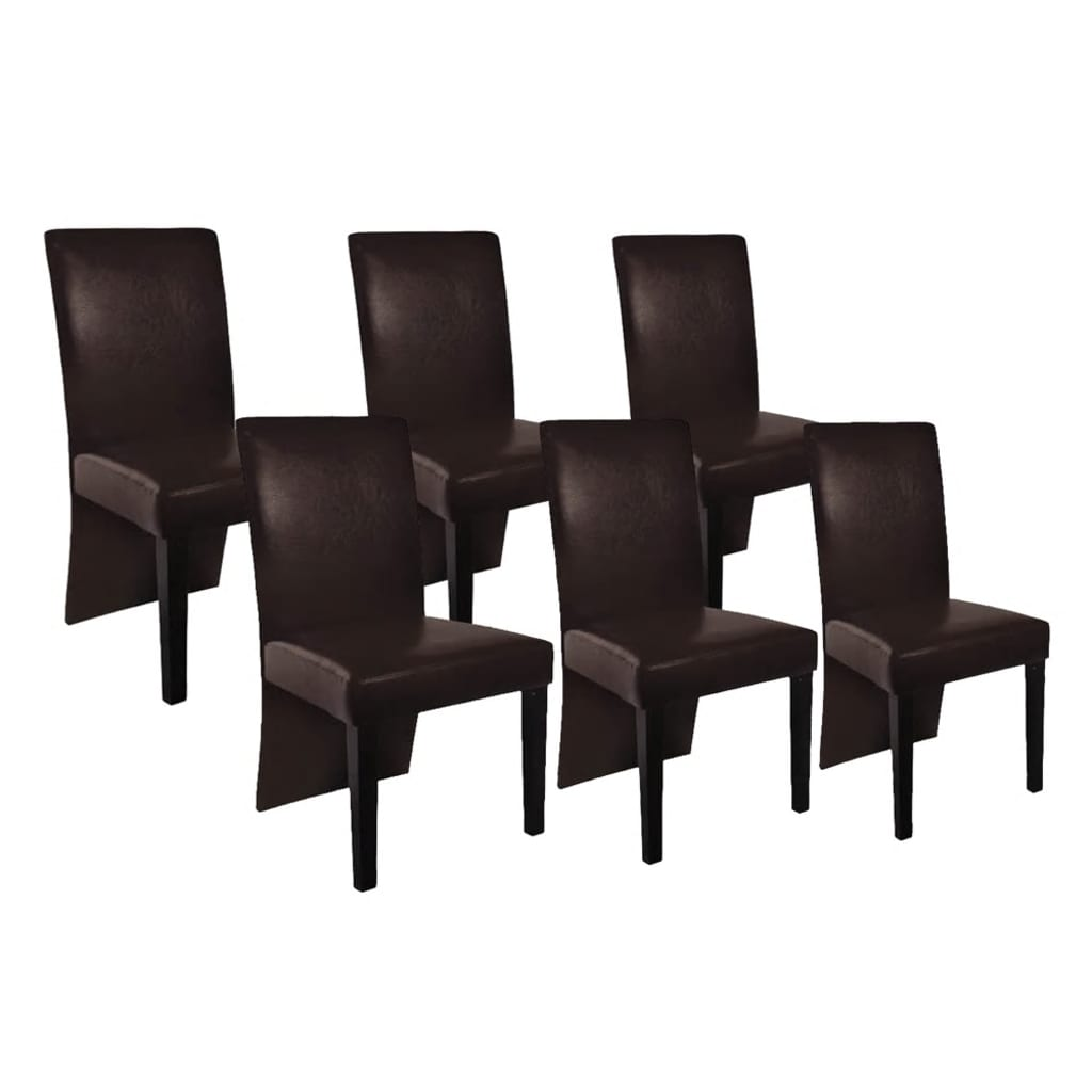 acheter vidaxl chaise de salle manger 6 pcs cuir artificiel marron fonc pas cher. Black Bedroom Furniture Sets. Home Design Ideas