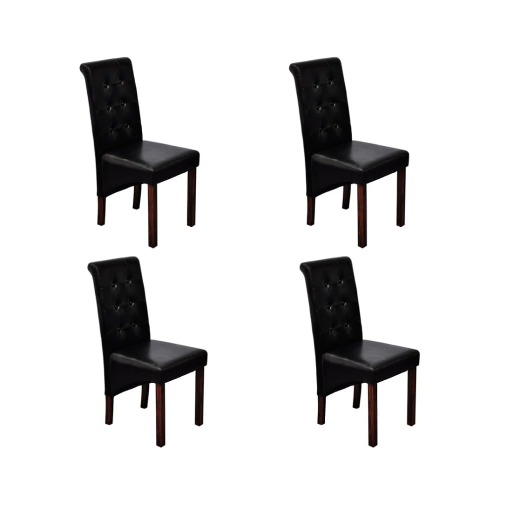 la boutique en ligne chaise antique simili cuir noir lot de 4. Black Bedroom Furniture Sets. Home Design Ideas