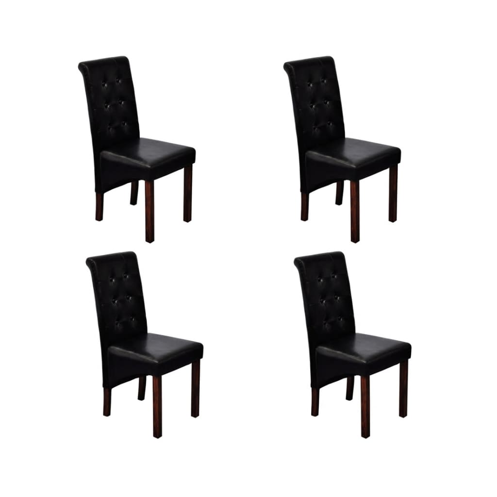 La boutique en ligne chaise antique simili cuir noir lot de 4 - Chaise simili cuir noir ...
