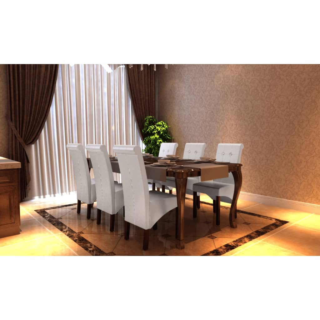 la boutique en ligne chaise antique simili cuir blanc lot de 6. Black Bedroom Furniture Sets. Home Design Ideas